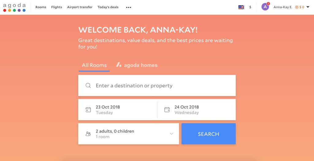 Agoda home search screen